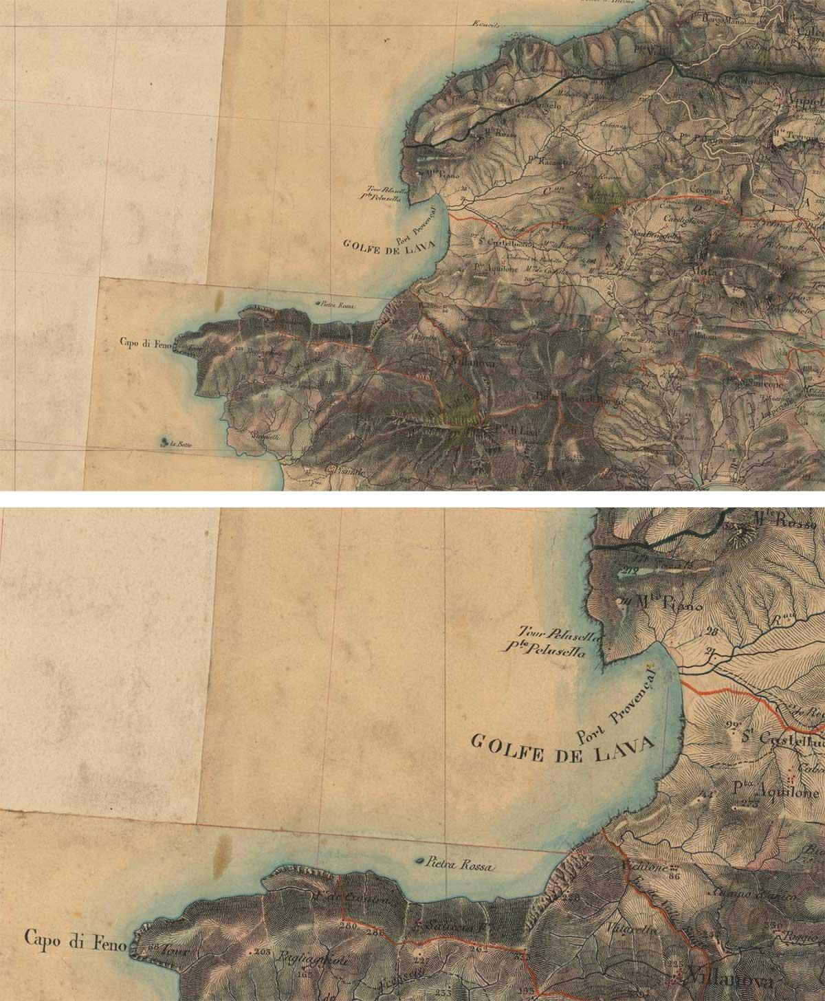 carte état major golfe de lava lave appietto ajaccio corse corsica location villa maison